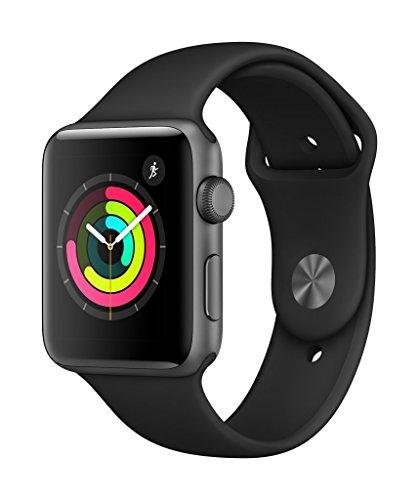 AppleWatchSeries3 - Relojes inteligentes(GPS, concaja de 42mm de aluminio engris espacial ycorrea deportiva negra)