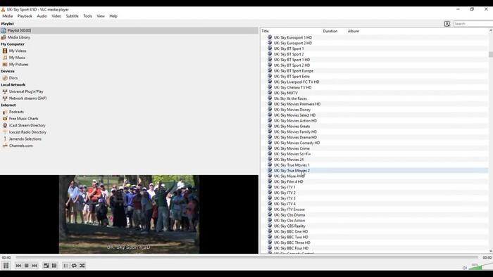 VLC con lista de canales