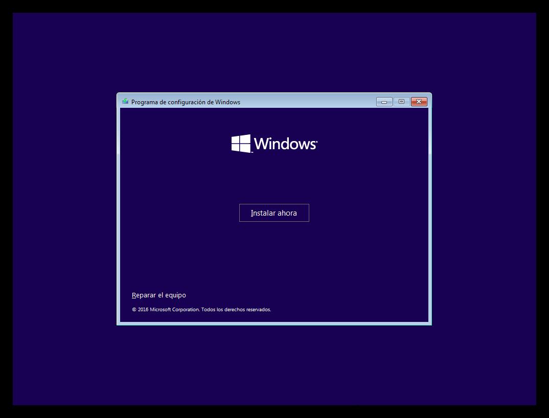 Windows 10 instalación