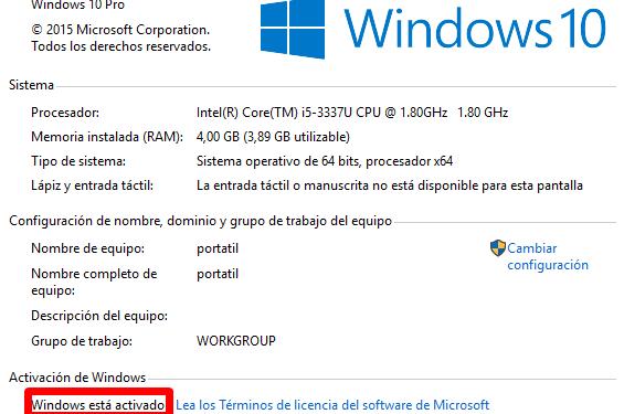 Cómo saber si Windows 10 está activado