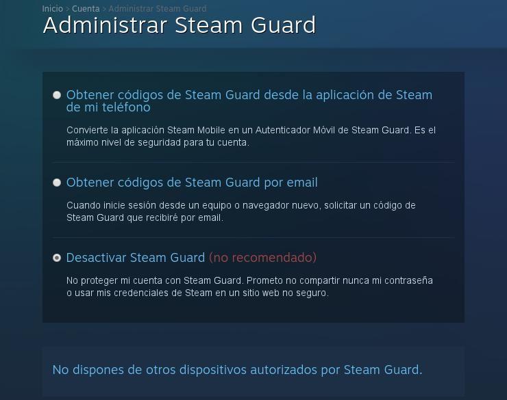 Cómo quitar Steam Guard