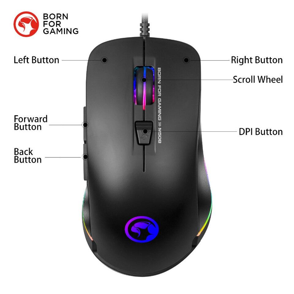 Ratón de juego MARVO M508, ratón con cable de retroiluminación ...
