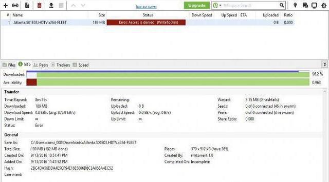 Utorrent acceso denegado write to disk