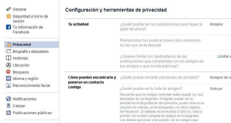 facebook opciones de privacidad