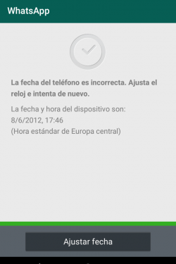 Error de WhatsApp fecha incorrecta