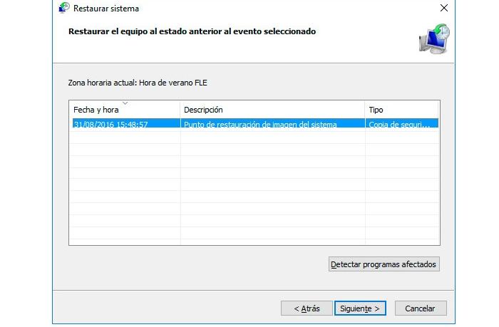 punto de restauración de Windows 10