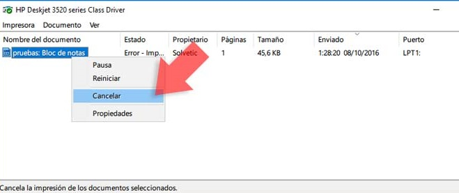 Eliminar cola de impresión en Windows