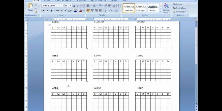 Cómo hacer o insertar un calendario en Word