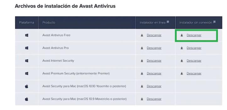 Descargar Avast offline para Windows y Mac