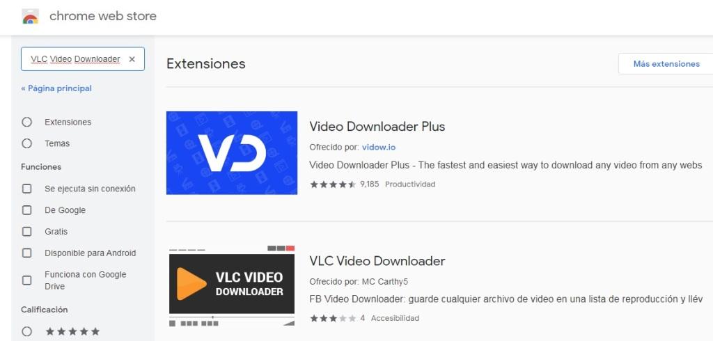 Extensiones para descargar de cualquier página web vídeos en Chrome