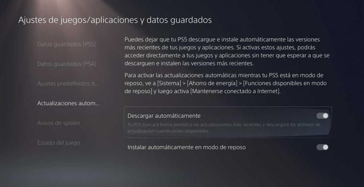 Activar y desactivar actualizaciones automáticas en PlayStation 5