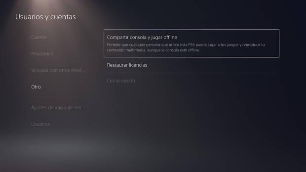 Cómo cambiar usuario principal PlayStation 5