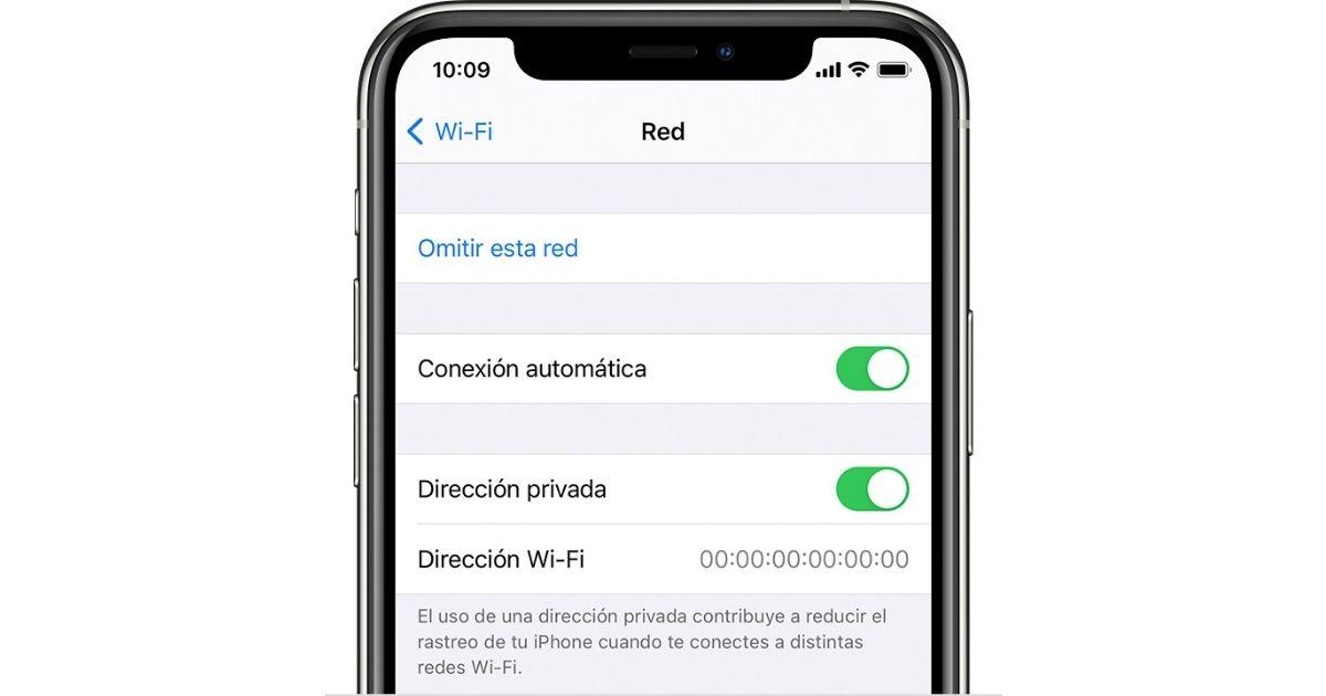 dirección MAC en iphone