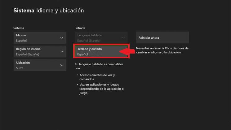Cómo cambiar idioma de teclado Xbox Series X y S