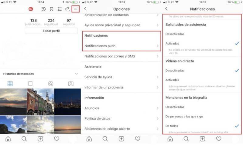 Cómo desactivar notificaciones en Instagram